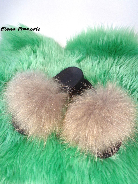 fell latschen pantoffeln mit echtem pelz waschb r raccoon. Black Bedroom Furniture Sets. Home Design Ideas